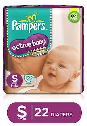 Pampers  Active Baby Diapers - Small (3-8 kg) (Pack of 22 pieces)