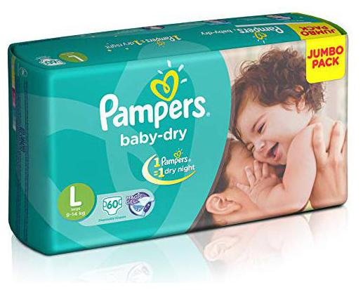 Pampers Baby Dry Diapers L 60 Pcs
