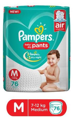 Pampers Baby Dry Pants - Medium Size, New 76 pcs