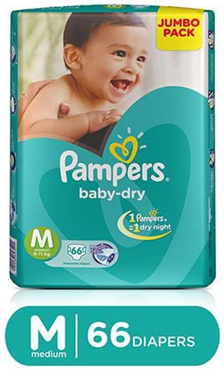 Pampers  Baby Dry Diapers Medium (6-11 kg) 66 pcs