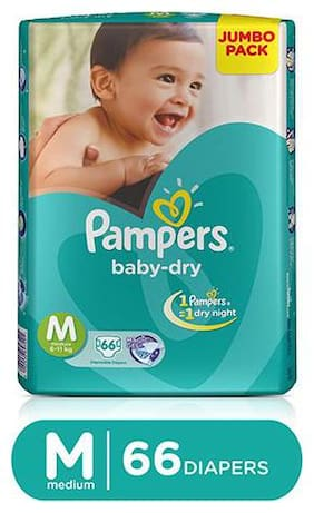 Pampers  Baby Dry Diapers - Medium 66 pcs