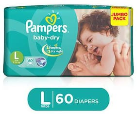 Pampers  Baby Dry Diapers - Large (9 - 14 kg) 60 pcs