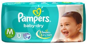 Pampers Baby Dry Diapers Medium (6-11 kgs) 5 pcs