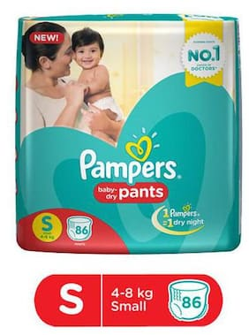 Pampers Diapers Pants Small Size New 86 pcs