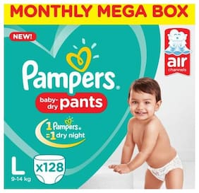 Pampers  Diapers Pants - Large Size, Monthly Box Pack, New 128's pack