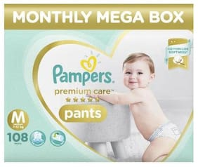 Pampers Monthly Box Pack - Diapers Pants  Medium Size  Premium Care 1.08 kg