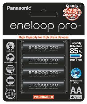 Panasonic Eneloop Pro BK-3HCCE/4BN upto 2550mAh 4xAA Rechargeable Battery