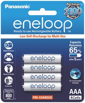 Panasonic Eneloop BK-4MCCE/4BN AAA Rechargable Battery - Pack of 4 (White)