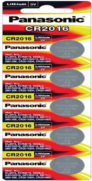Panasonic Lithium CR2016/5BE Cell Battery - Pack of 5 (Multicolor)