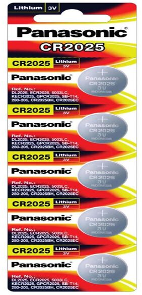 Panasonic Lithium CR2025/5BE Cell Battery - Pack of 5 (Multicolor)