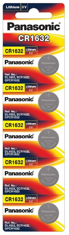 Panasonic Lithium CR-1632/5BE Battery - Pack of 5 (Multicolor)