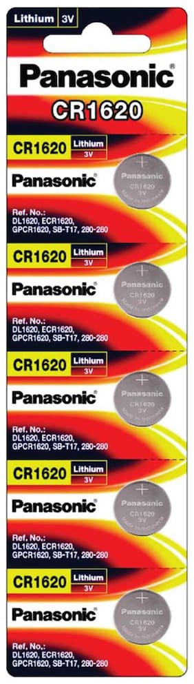 Panasonic Lithium CR1620/5BE 3V Battery - Pack of 5 (Multicolor)