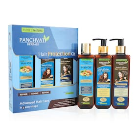 Panchvati Hair Protection Kit (Shampoo 200ml, Hair Conditioner 200ml, Hair Oil 200ml ) For Men & Women ( Pack of 3 )