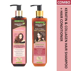 Panchvati Keratin & Collagen Hair Shampoo 300ml and Hair Conditioner 300 ml For Men & Women ( Pack of 2 )