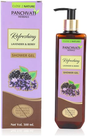 Panchvati Shower Gel with Lavender & Berry - No Parabens, Sulphate, Silicones, 300 ml