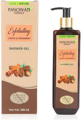 Panchvati Shower Gel with Coffee & Cinnamon - No Parabens, Sulphate, Silicones & Salt, 300 ml