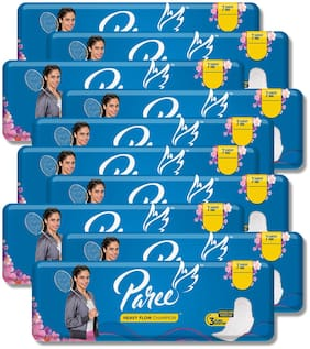 Paree Dry Feel Sanitary Pads For Heavy Flow 7 Pads Regular (Pack Of 10)