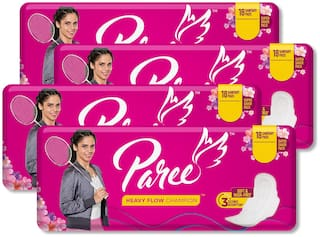 Paree Soft & Rash Free Sanitary Pads For Heavy Flow 18 Pads Regular (Pack Of 4)
