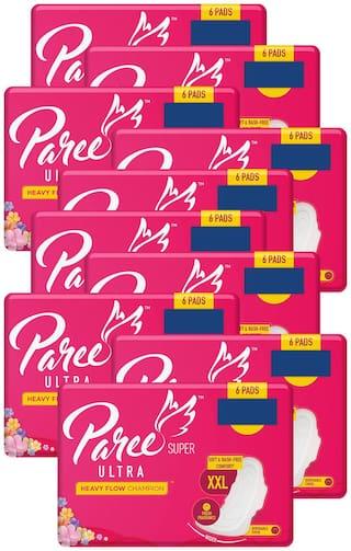 Paree Super Ultra Soft Feel Sanitary Pads XXL (Tri-Fold) - 6 Pads (Pack of 10)