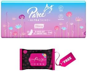 Paree Ultra Thinz Sanitary pads XXL-30 and GET FREE Pack of Pariz Multi-Purpose Wipes