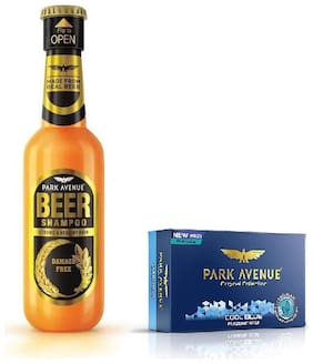 Park Avenue Damage Free Beer Shampoo 180ml & Cool Blue Soap 125g ( Pack Of 2)