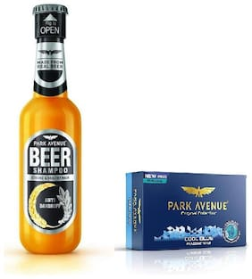 Park Avenue Anti Dandruff Beer Shampoo 180Ml & Cool Blue Soap 125Gm ( Pack Of 2)