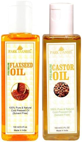 Park Daniel Premium Flaxseed Oil And Castor Oil Combo Of 2 Bottles Of 100 ml (200 ml )