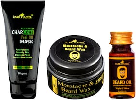 PARK DANIEL Activated Charcoal Peel off Mask Beard & Moustache Wax And Beard Growth Oil Combo Pack of 3(145 gm)