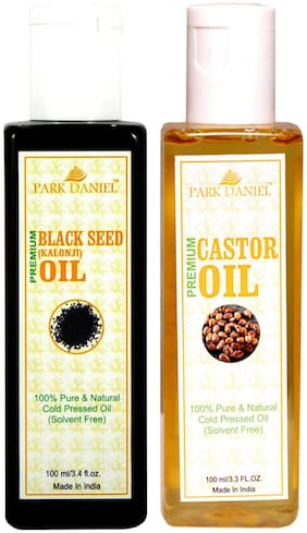 Park Daniel Castor Oil And Black Seed Oil(Kalonji) Combo Pack Of 2 Bottles Of 100 ml (200 ml )
