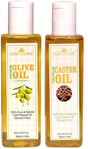 Park Daniel Premium Extra Light Olive Oil And Castor Oil Combo Of 2 No.100 ml Bottles(200 ml )