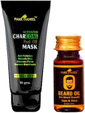 PARK DANIEL Activated Charcoal Peel off Mask & Beard Growth Oil Combo Pack of 2(95 g)
