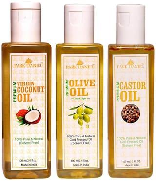 Park Daniel Premium Virgin Coconut Oil Olive Oil And Castor Oil Combo Of 3 Bottles Of 100 ml (300 ml )