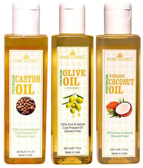 Park Daniel Premium Castor Oil Extra Light Olive Oil And Virgin Coconut Oil- Pure And Natural Combo Pack Of 3 Bottle Of 200 ml (600 ml )