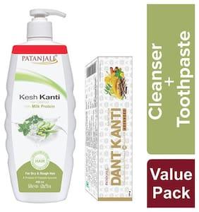 Patanjali Kesh Kanti Milk Protein Hair Cleanser 450 ml(Dant Kanti Advanced 50 gm Free)