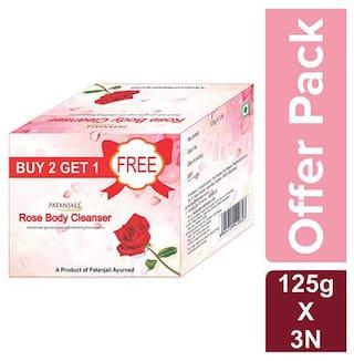 Patanjali Rose Body Cleanser bar 125 g(Buy 2 get 1 free)