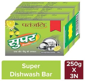 Patanjali Super Dish Wash Bar 250 g,Pack Of 3