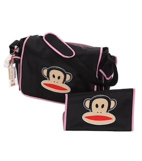 Paul Frank Diaper Bag (Pink) PVC Messenger Flap Style Size (12 x 20 x 5 Inches)