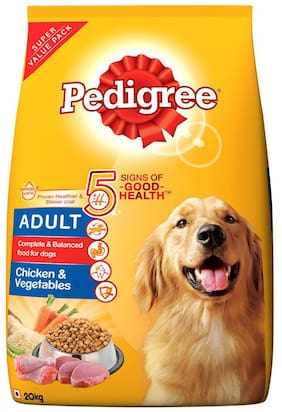 Pedigree Adult, Chicken & Vegetables Dry Dog Food, 20 kg