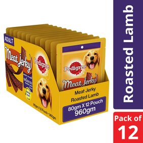 Pedigree Meat Jerky Stix, Lamb flavoured Adult Dog Treats 60 g (Pack of 12)