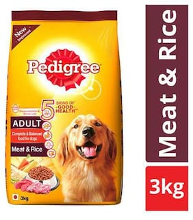 Pedigree Dry Dog Food - Meat & Rice  for Adult Dogs 3 kg