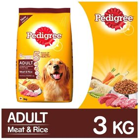 Pedigree Dry Dog Food, Meat & Rice for Adult Dogs   3 kg Pack