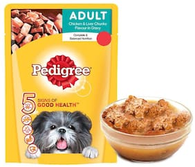 Pedigree Gravy Adult Dog Food Chicken & Liver Chunks, 70g (Pack Of 30)