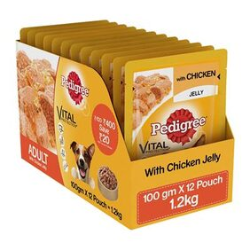 Pedigree Gravy (Adult - Dog Food) Chicken In Jelly 1.2Kg Pack Of 12 100 Gm Pouch