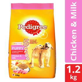Pedigree Dry Dog Food, Chicken & Milk for Puppy 1.2 kg Pack