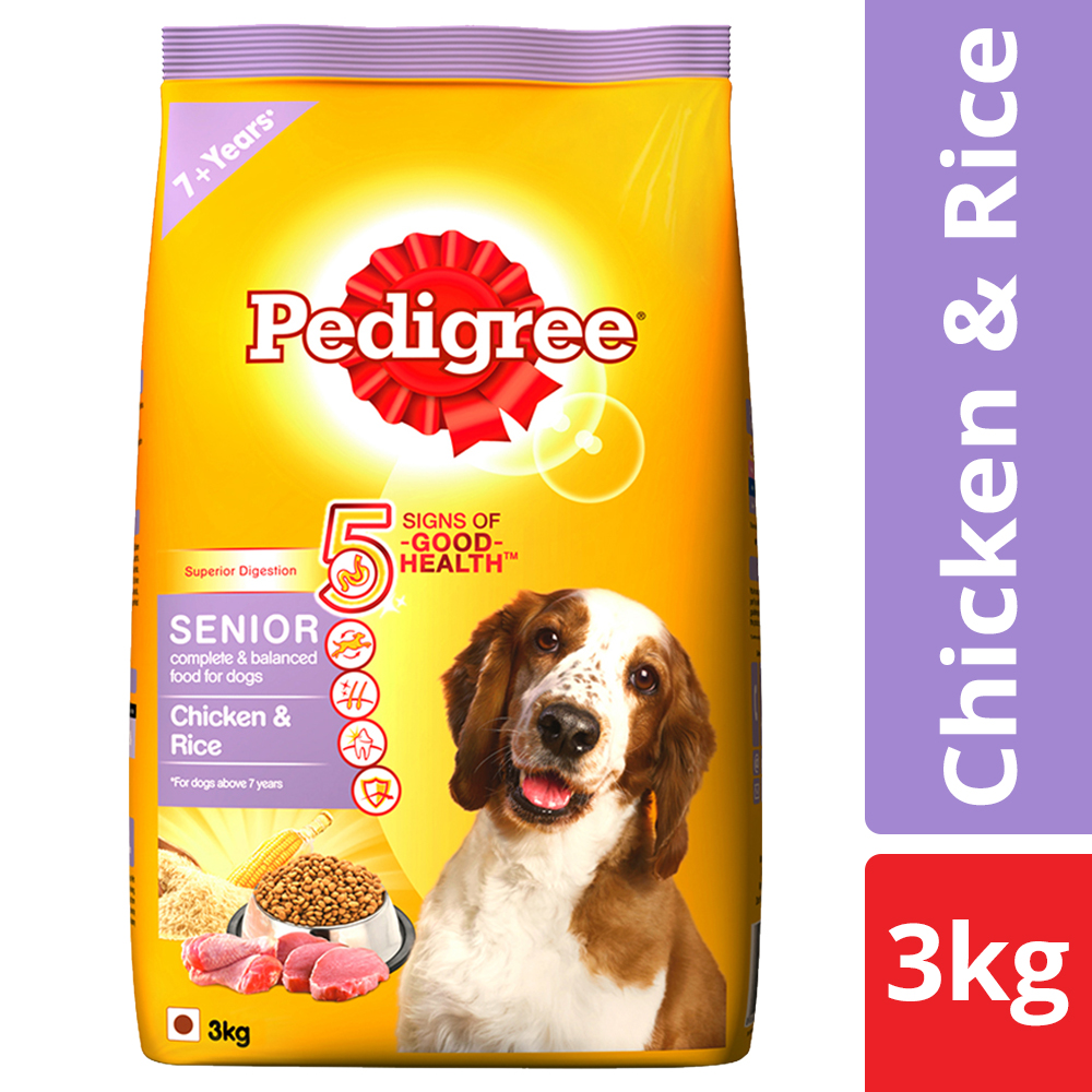 Pedigree Dry Dog Food, Chicken & Rice for Senior Dogs (7 years+)   3 kg Pack
