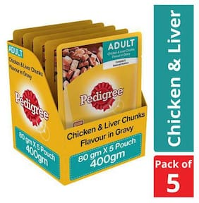 Pedigree Wet Dog Food - Chicken & Liver Chunks in Gravy, for Adult Dogs 80 gm (Pack of 5)