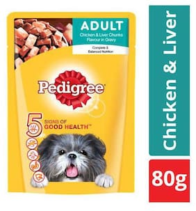 Pedigree Wet Dog Food Chicken & Liver Chunks In Gravy For Adult Dogs 80 gm Pouch