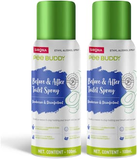 PeeBuddy Toilet Seat Sanitizer | Before and After Toilet Spray/Deodorizer and Disinfectant - 100 ml (Pack of 2)