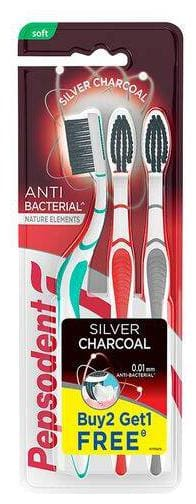 Pepsodent Silver Charcoal Anti Bacterial Tooth Brush - Soft Buy 2 Get 1 Free