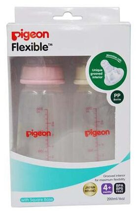 Pigeon Peristaltic Nursing Bottle Twin Pack Kpp 200 ml (Pink & White) Nipple M